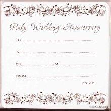 40th Ruby Anniversary Invitation Card by Jean Barrington