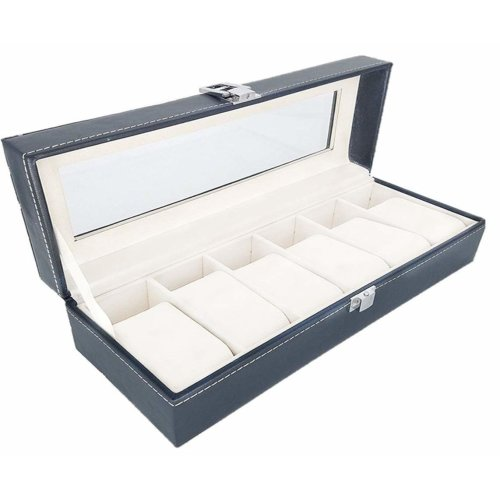 Watch Display Box Case Faux Leather Jewellery Display Storage Box 6/10 / 12 GRIDS GN ENTERPRISES (6 Grids)