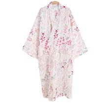 Japanese Style Women Thin Cotton Bathrobe Pajamas Kimono Skirt Gown-A03