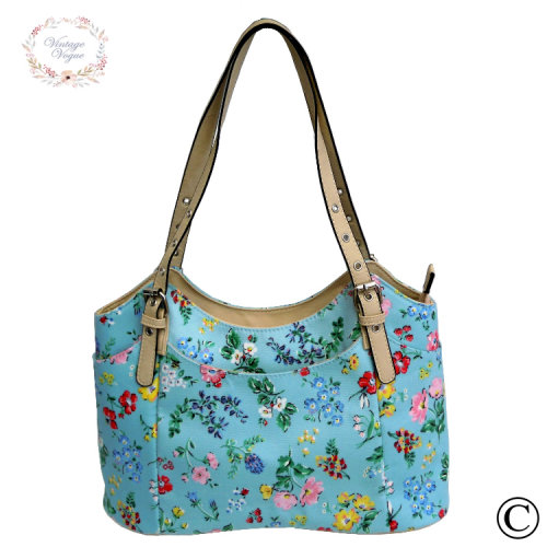 Vintage Vogue Classic Sky Blue Floral Baby Changing Bag