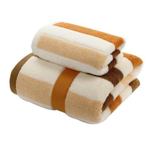 2 Piece Set - Face Towel and Bath Towel - Cotton Towel Facecloth Beach Towels
