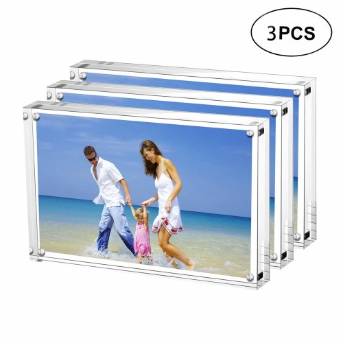 AMEITECH 13x18 cm Acrylic Photo Frame, Magnetic Picture Frames, 10 + 10MM Thickness Stand in Desk or Table, Clear - Pack of 3