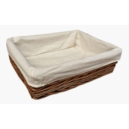 Large Lined Antique Wash Straight Sided Wicker Tray