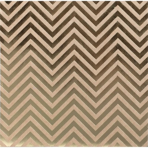 "Bazzill Foiled Kraft Cardstock 12""X12""-Gold Chevron"