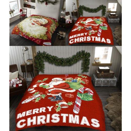 Merry Christmas Santa Cosy Super Soft Cudly Blanket Sofa Throw Size 127 x 152cm
