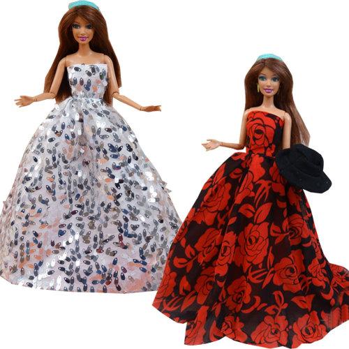 "Set of 2 Fantasy Handmade Wedding Dress for 11.8"" Doll Silver & Black Peony"
