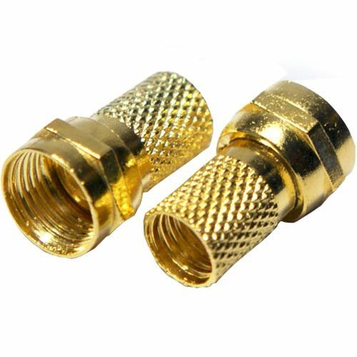 Loops 10x QUALITY GOLD F-Connector 6.4mm Coaxial RG6 Plug - Screw/Twist On F-Type Cable Ends - Male Sky Virgin Satellite/Aerial Coax Jack