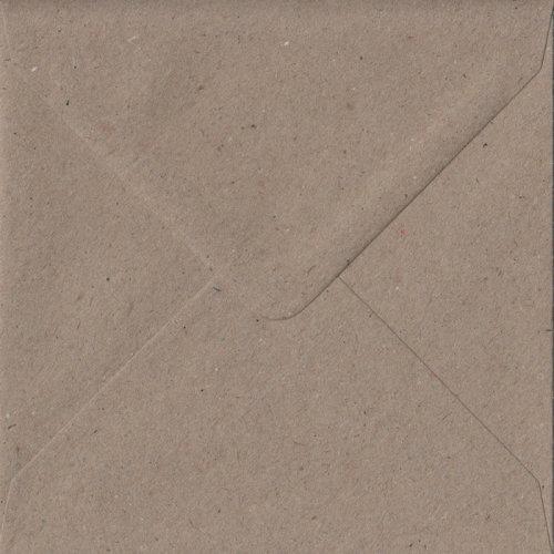 Fleck Kraft Gummed 155mm Square Coloured Brown Envelopes. 110gsm FSC Sustainable Paper. 155mm x 155mm. Banker Style Envelope.