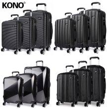 KONO 3 Pieces Suitcase Luggage Travel Bag Hard Shell ABS PC Trolley Case Black 20 + 24 + 28 Inch
