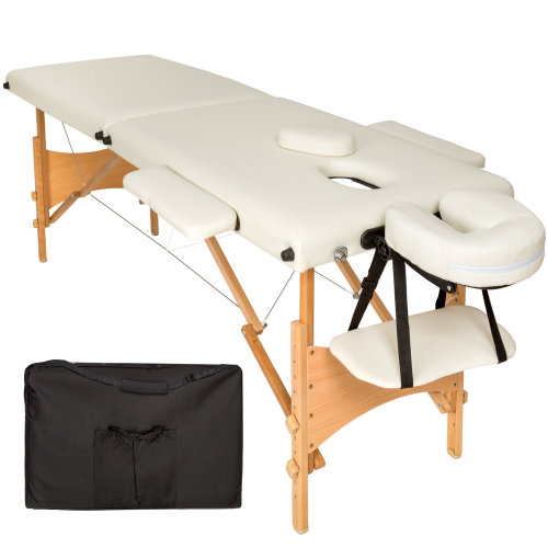 2-zone massage table Freddi 5 cm padding + bag beige