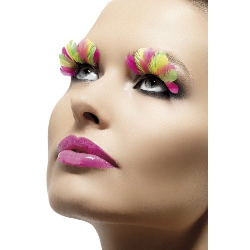 Fever Eyelashes - Neon Feathers -  eyelashes feather fancy dress neon false fake multi coloured womens multicoloured
