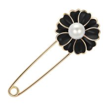 Women Fashion Brooch Rhinestone Safety Pin Black Flower