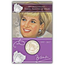 Ascension Islands 2017 20th Anniversary of the Death of Princess Diana Rose Virenium coin in Pack