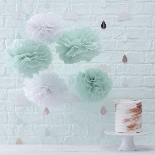 ca26d115e Paper Pom Poms Mint Green & White Tissue Paper Hello World Baby Shower x 5  on OnBuy