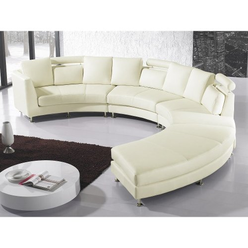 Round Sectional Sofa - Leather - Cream - ROTUNDE