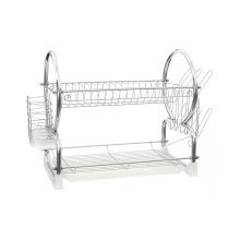2-Tier Dish Drainer, White & Chrome