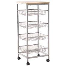 HOMCOM 5 Tier Rolling Kitchen Trolley Storage Cart with 4 Wire Baskets Lockable Wheels 36.5L x 36.5W x 89H cm