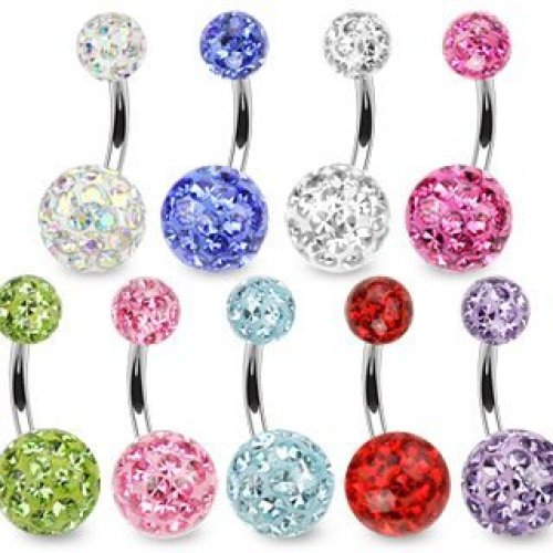 10mm Material 1.6mm Length Red Crystal Cluster Epoxy Coated Smooth Ferido Double Disco Ball Belly Bar Piercing Thickness Surgical Steel