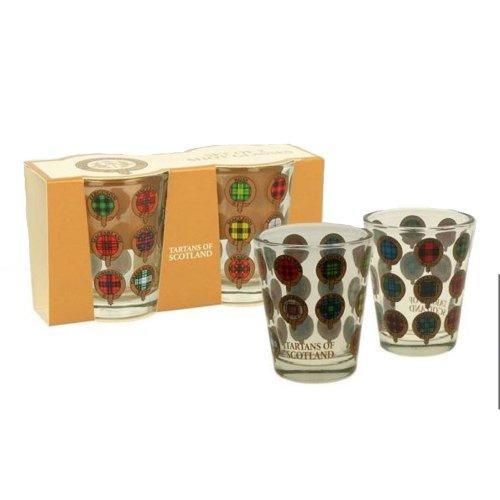 Set of 2 Tartans of Scotland Shot Glasses Glass Scottish Souvenir Gift