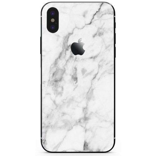 DowBier iPhone Bottom Decal Vinyl Skin Sticker Cover Anti-Scratch Decal For Apple iPhone (iPhone X, White Marble)