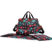 Miss Lulu 4pcs Baby Nappy Diaper Changing Bag Set Elephant Print
