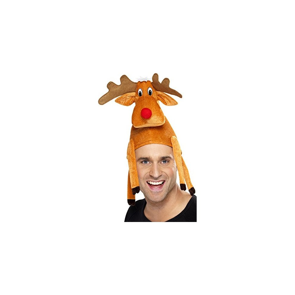 Christmas Fancy Dress Funny.Adults Reindeer Sat On Head Hat Hat Reindeer Christmas Fancy Dress Novelty Adult Accessory Rudolph