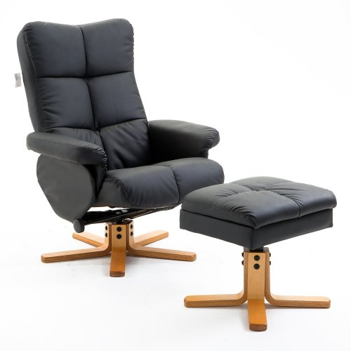 Homcom PU Leather Swivel Chair and Storage Footrest