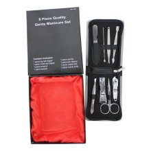 8pc Premium Quality Gents Manicure Set Stainless Steel Mens Gift Grooming Kit