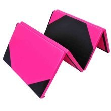 Homcom Folding Yoga Mat | Pink & Black Foldable Fitness Mat