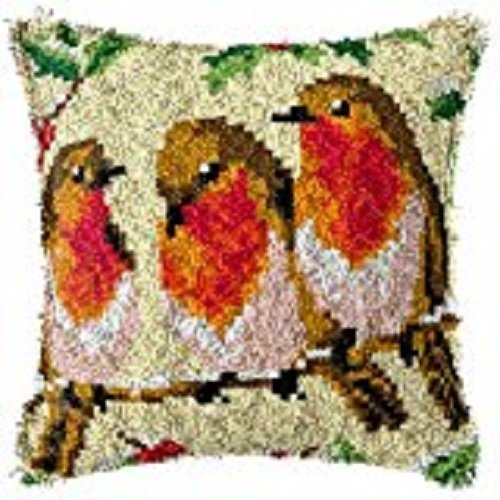 "Latch Hook Complete Cushion Cover Kit""Winter RobinTrio""43x43cm"