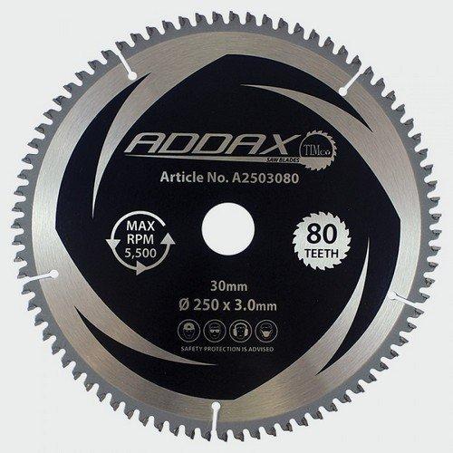 Addax A2503080 TCT 5 Degree Saw Blade 250 x 30 x 80T