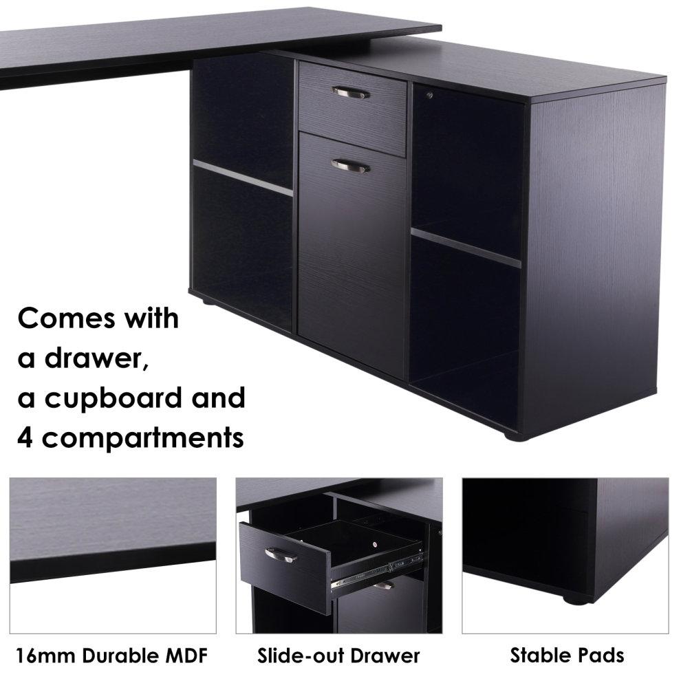 Homcom Mdf Adjule Large L Shaped Computer Desk Workstation Pc Home Office Black