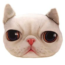 Realistic Personality Pillows Plush Toys 3 D Cartoon Cat Head Meow Cat White