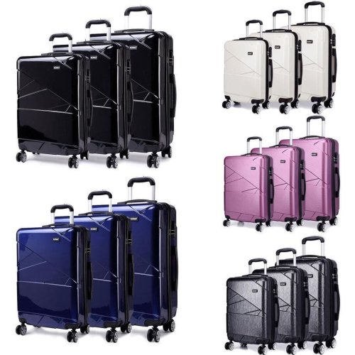 KONO 3 Pieces Suitcase Luggage Travel Trolley Case Bag Hard Shell PC 4 Wheels Spinner 20 24 28 Inch Geometric Shape