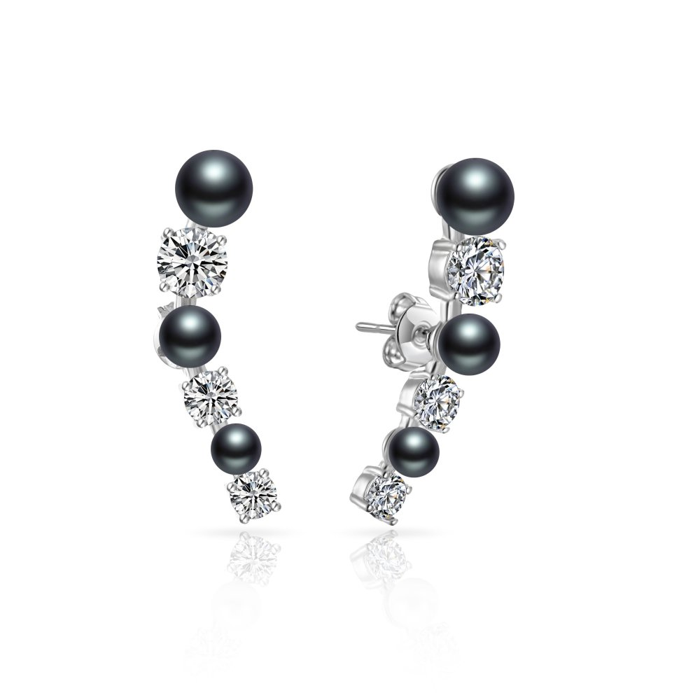 068491cef Black Pearl Climber Earrings Created with Swarovski Crystals on OnBuy