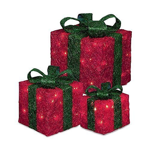 Pre-lit LED Christmas Gift Boxes Set Of 3 - Red - Prelit Parcels Festive Xmas -  set 3 prelit led christmas gift boxes parcels festive xmas tree