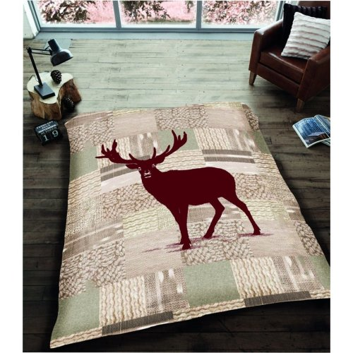 Christmas Stag Deer Reindeer 3D Blanket Cosy Sofa Throw Double Size