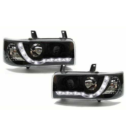 Volkswagen Transporter T4 Short Nose  Inc.caravelle 1990-2003 Black Drl Headlights Pair