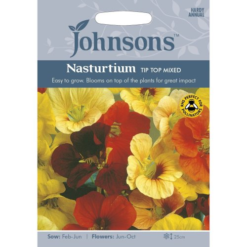 Johnsons Seeds - Pictorial Pack - Flower - Nasturtium Tip Top Mixed - 25 Seeds