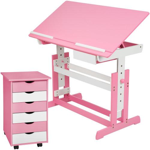 Children's desk + filing cabinet rose