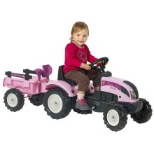 FALK Princess Tractor with Trailer and Accessories Pink 2/5