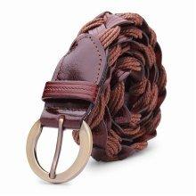 Women Casual Belt Bonded Leather Weaving Pattren Pin Buckle Strip