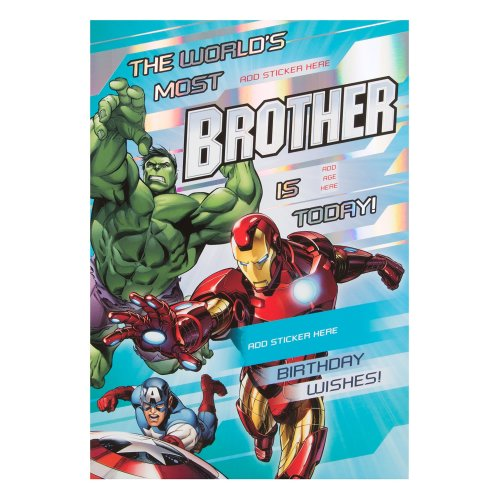 Hallmark Avengers Brother Birthday Card With Stickers