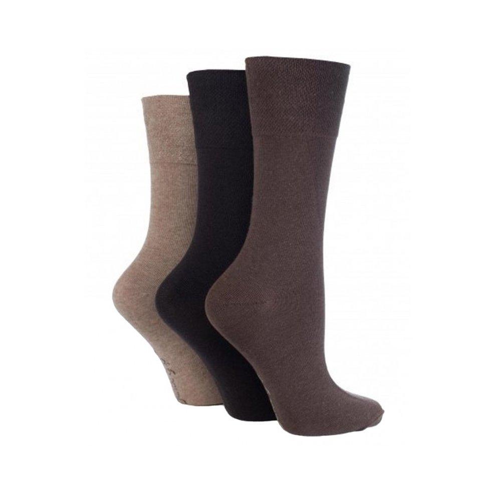 Size 4-8 3 Pairs Ladies Plain Dark Pink Mix Gentle Grip Everyday Cotton Socks