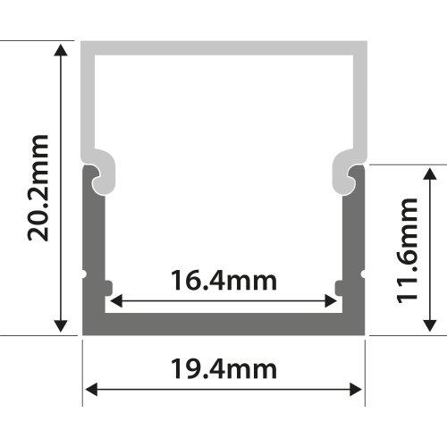 Aluminium LED Tape Profile - Box Section