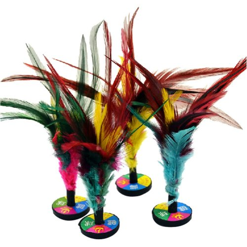 4 Pcs Colorful Feather Kick Shuttlecock Chinese Jianzi Sport