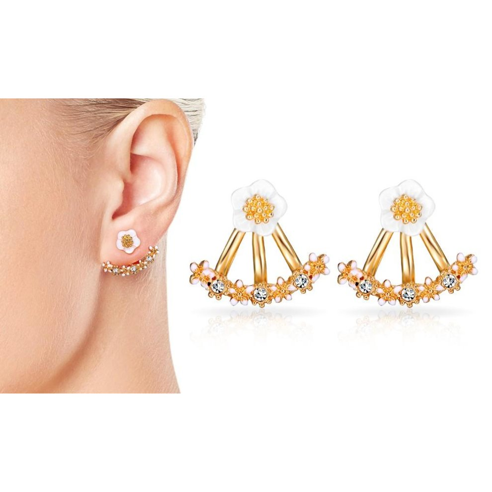 610b09c7d ... Gold Plated Daisy Jacket Earrings Created with Swarovski Crystals - 1  ...