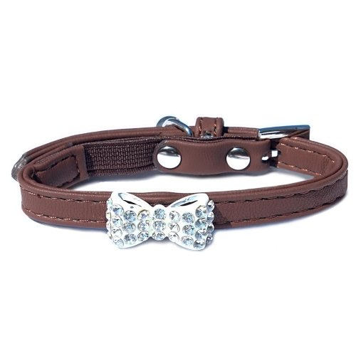 Catty Things Diamante Bow Cat Collar Brown (Pack of 5)