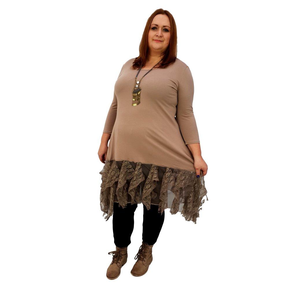 97831181fc465 Plus size longer tunic lagenlook floral lace frill 3/4 sleeve [L1042_BEIGE]
