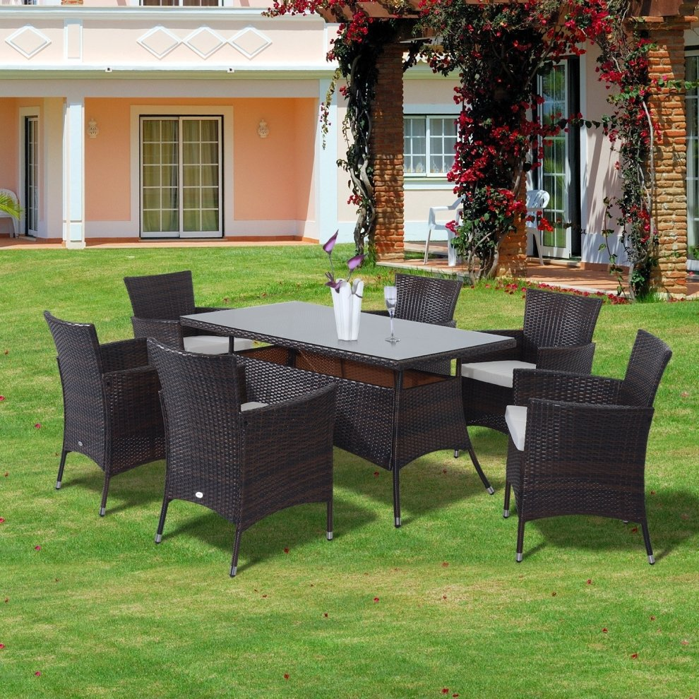 Outsunny Garden Rattan Furniture Cube Dining Table 6 ...